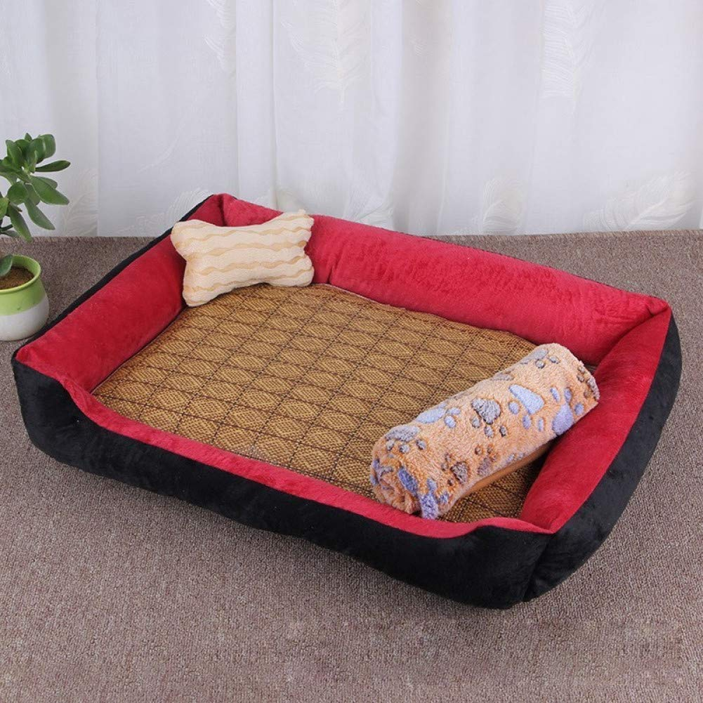 Red 50x38cm CZHCFF All season dog soft wool bed puppy cat house with blanket bone pillow nest cooling summer wicker Mat 5 colors pet products