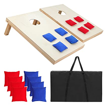 Nice Smartxchoices Regulation Size CornHole Set Cornhole Board Game Bean Bag  Toss Set Portable Solid Wood W