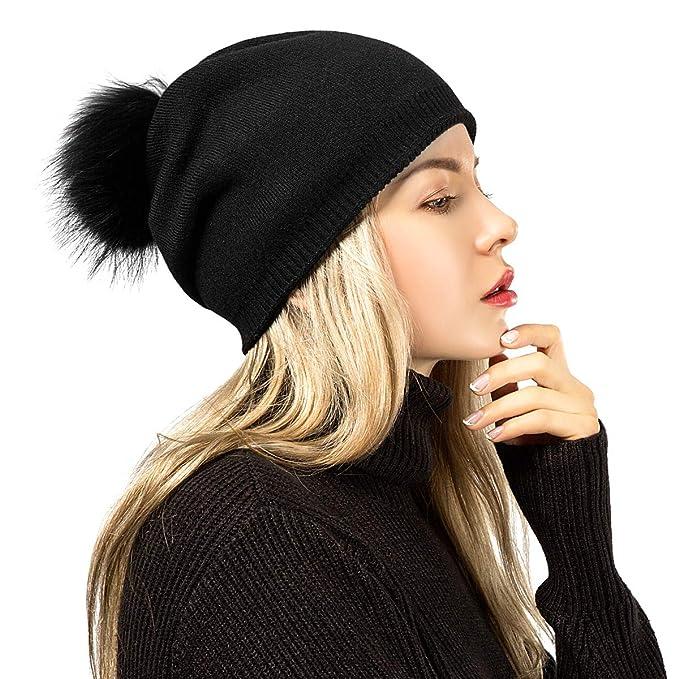 Beanie Hat ADUO Winter Warm Raccoon Fur Pom Hat Cashmere Slouchy Beanie for  Women 76fe9766e10e