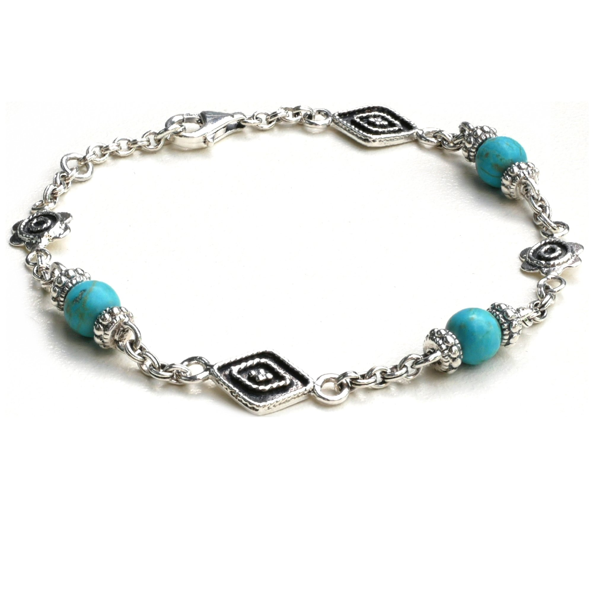 Kham Women 925 Sterling Silver Bohemian Style Link Bracelet with Genuine Natural Blue Turquoise Bead (7.5)