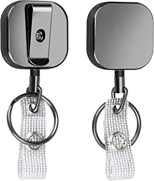 Heavy Duty Retractable Badge Reel with Key Ring Reinforced ID Strap /& Keychain by Specialist ID Black//Silver All Metal Construction Card /& Key Holders with Thick Nylon Cord 2 Pack Belt Clip