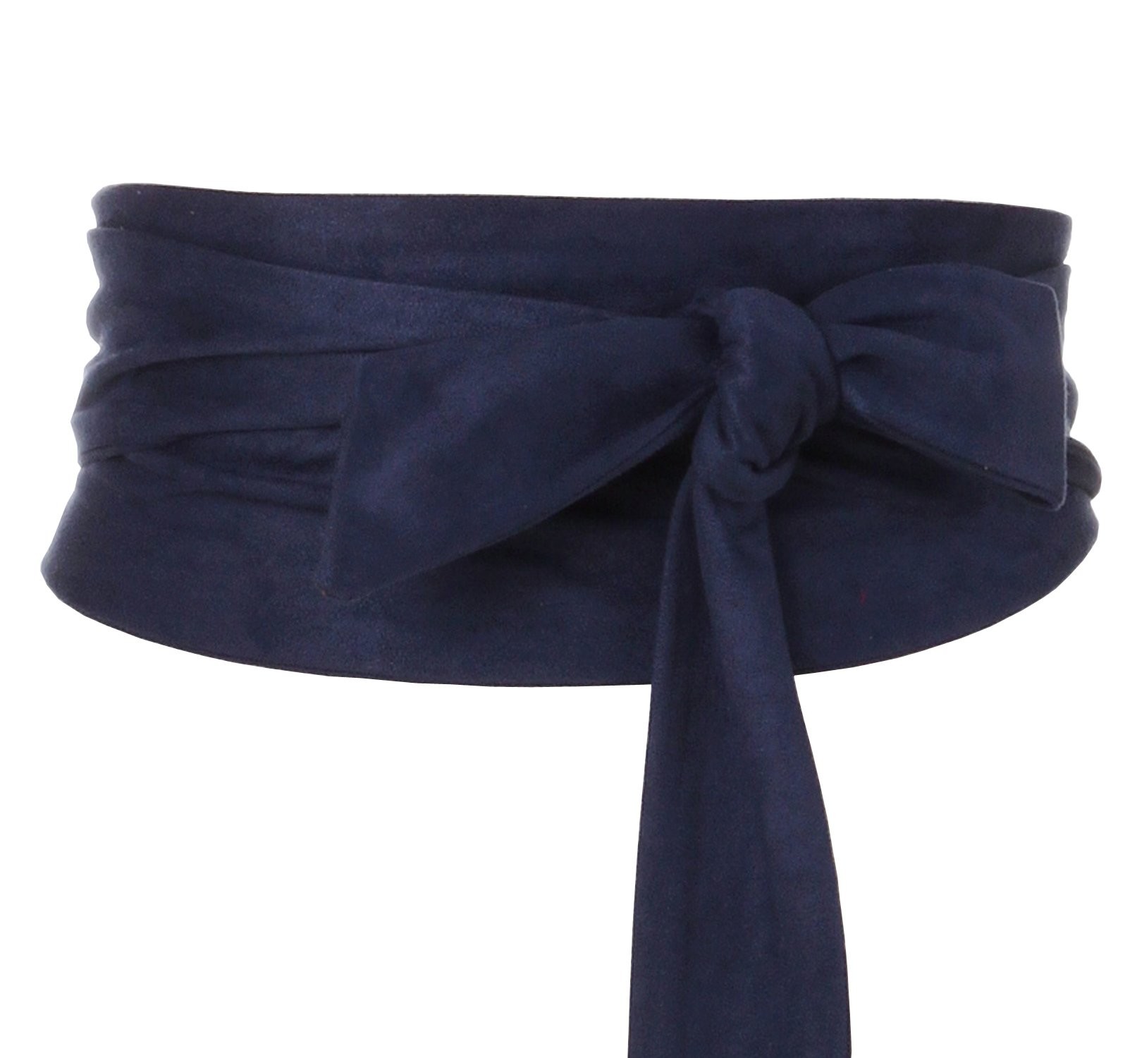 Shengweiao Women's Self Tie Wrap Around Obi Waist Band Cinch Boho Belt (Dark Blue)