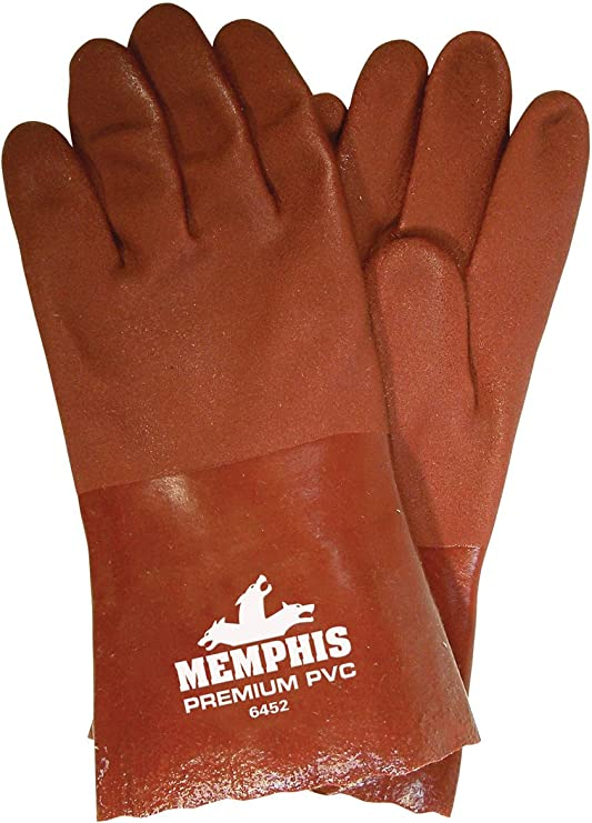 Orange MCR Safety 6521SCO Double Dipped PVC Foam Lined Sandy Finish Mens Gloves with Rubberized Safety Cuff 1-Pair Large