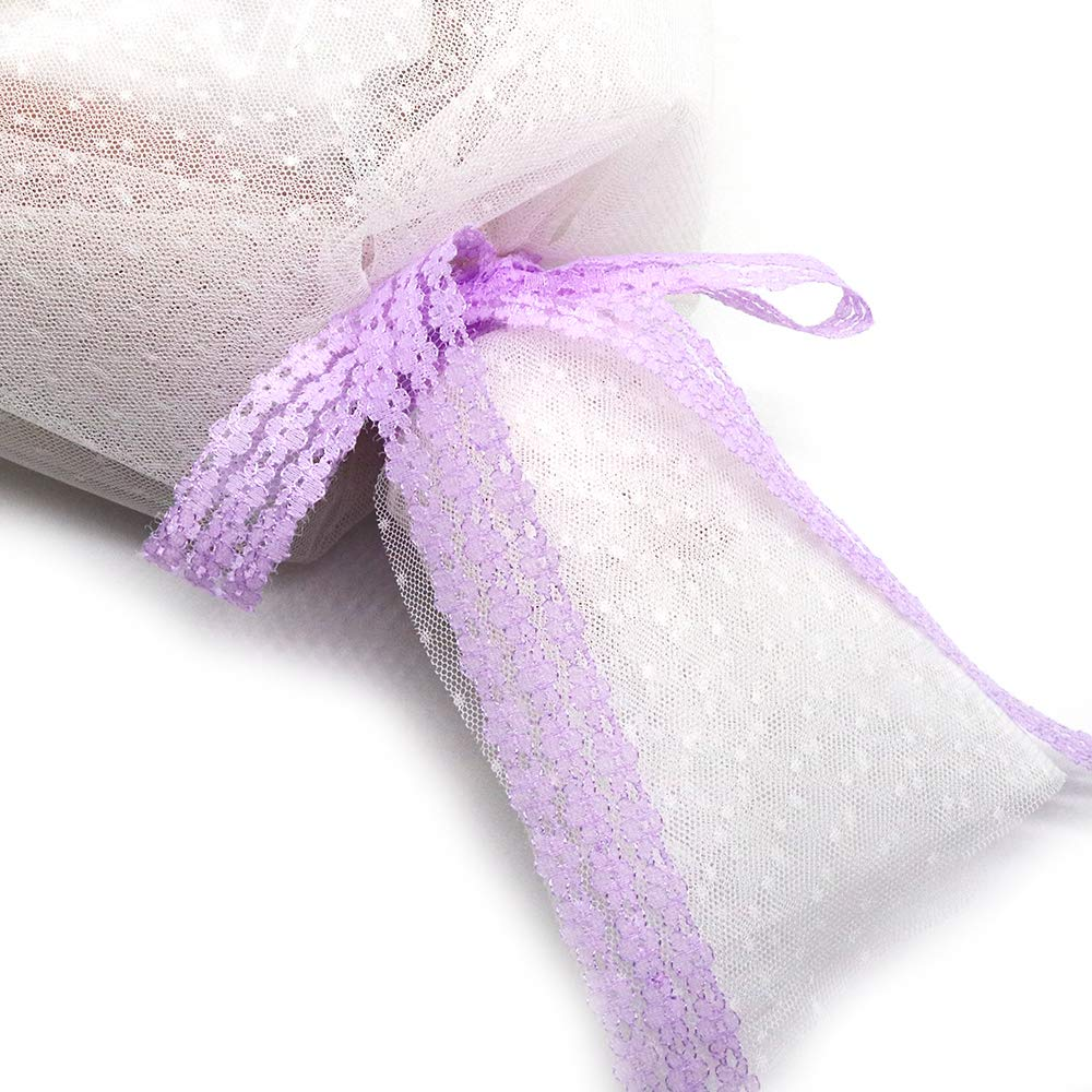 Bouquet Wrapping Decorating and Hair Bow Crafts 1 Inch x 28 Yards Floral Lace for Gift Wrappping Light Purple Lace Ribbon Wedding Invitation