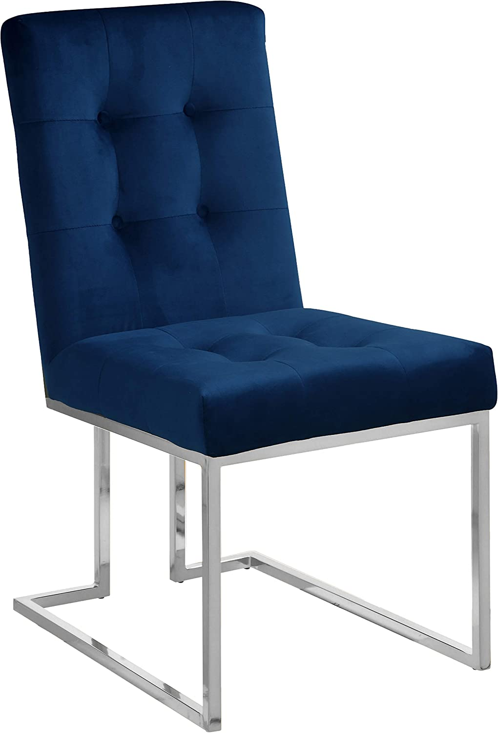 Meridian Furniture Alexis Collection Modern Contemporary Velvet Upholstered Dining Chair With Luxurious Deep Button Tufting And Polished Chrome Metal Frame Set Of 2 18 5 W X 25 D X 36 5 H Navy Chairs Amazon Com