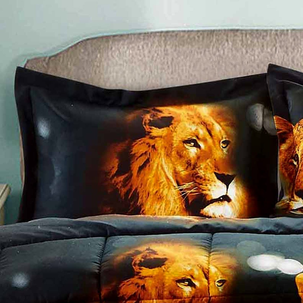 HUAJIE 2 Piece Set Beautiful Soft 3d Print Vivid Animals Pattern Box Stitched Comforter Set (1 Comforter,1 Pillowcase) (Twin, Tiger Lion) by HUAJIE (Image #3)