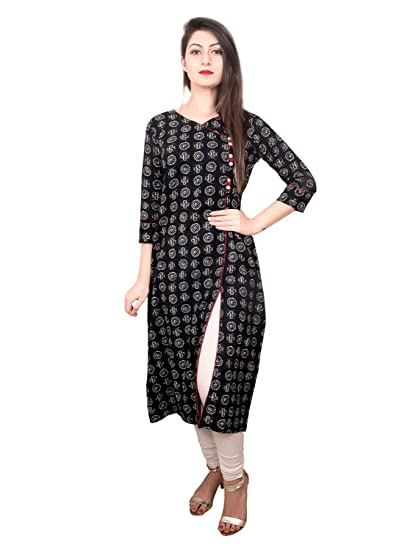 2a342a52085 Amayra Women s Casual 3 4 Sleeve Round Neck Angrakha Blue Printed Casual  Kurti  Amazon.in  Clothing   Accessories