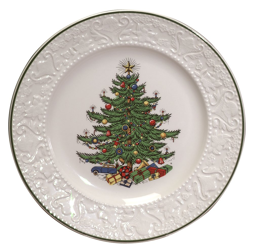 Cuthberston Original Christmas Tree Dickens Embossed, Dinner Plate Round, 11.25'', Set of 4 by Cuthbertson