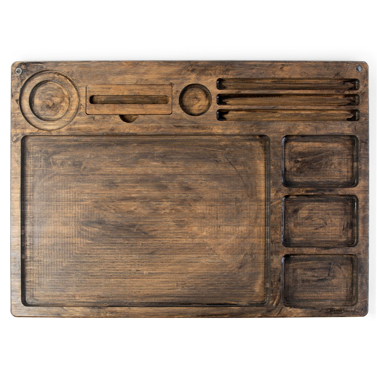 Beamer Goliath All In One Natural Bamboo Rolling Tray - Dark Finish - 21 X 15 inch