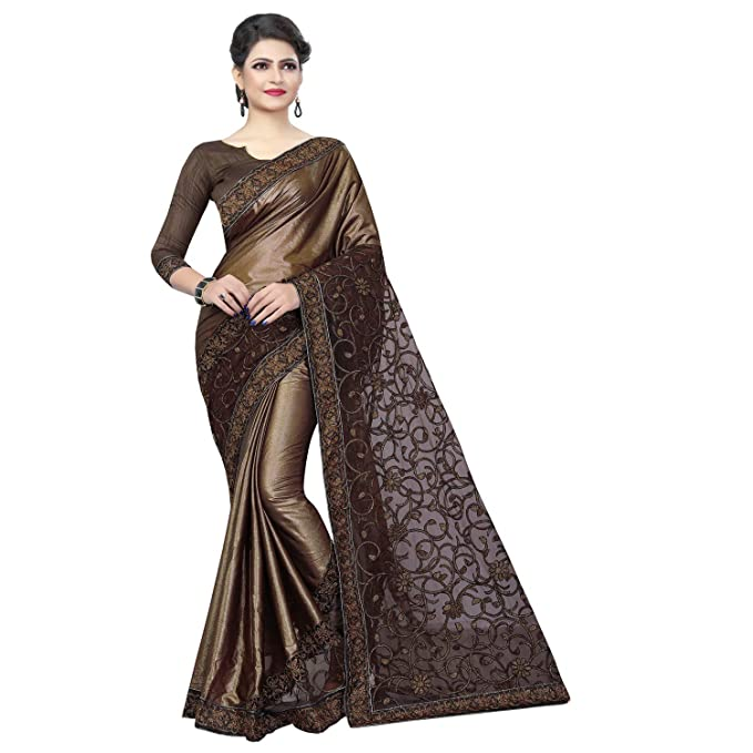 87979cd309f46d RJB Women s Georgette Saree with Blouse Piece (Brown
