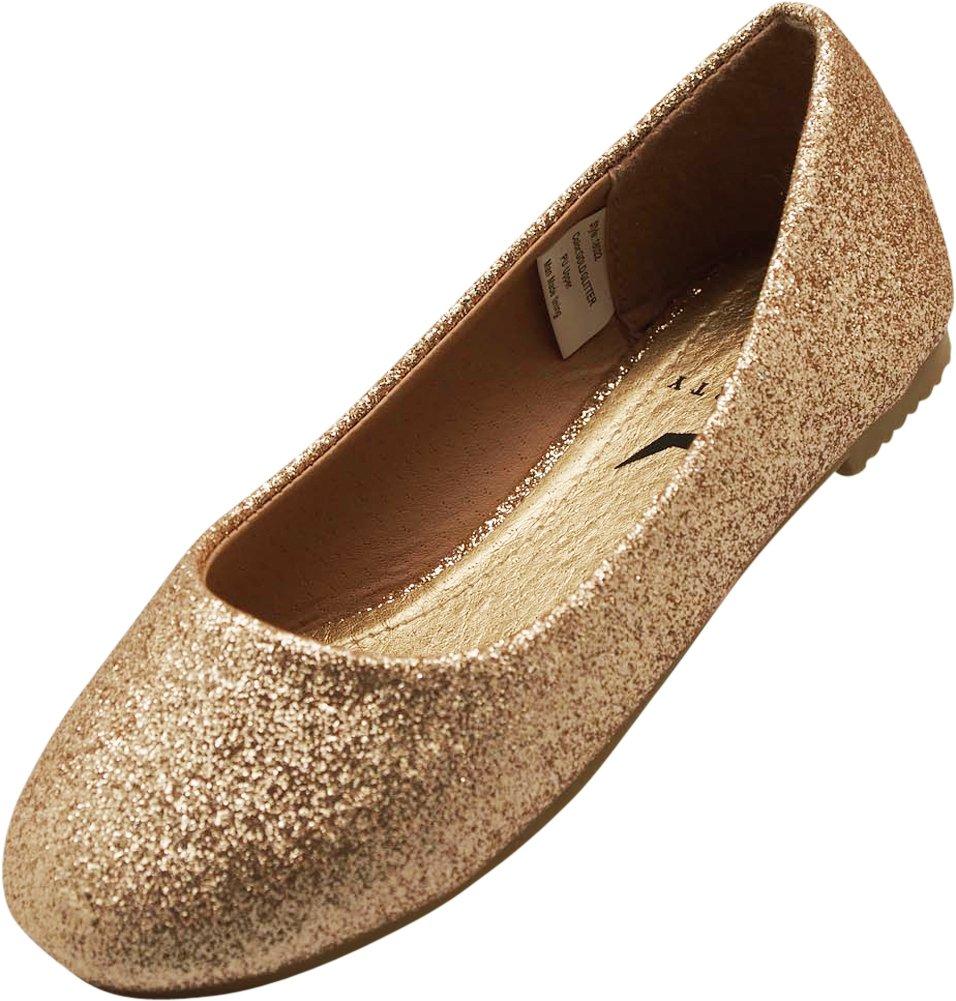 NORTY Little Girls Glitter Ballet Flat, Gold 40088-1MUSLittleKid