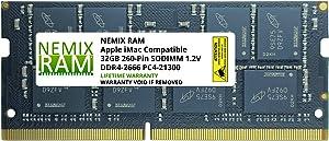 "32GB DDR4-2666MHz PC4-21300 SO-DIMM Memory for Apple 27"" iMac with Retina 5K Display Mid 2020 (iMac 20,1 iMac 20,2) by NEMIX RAM"