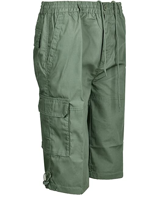f7687d1925 Mens Cargo Combat Shorts 3/4 Length With Multi Pockets Elasticated Waist  Small To 3XL 3 Quarter Shorts: Amazon.co.uk: Clothing