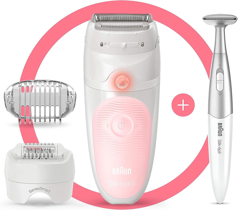 Braun Silk-épil 5 5-820 Depiladora mujer eléctrica, depilación suave para principiantes, cabezal de rasurado y recorte, pinzas micro-grip, blanco/rosa: Amazon.es ...