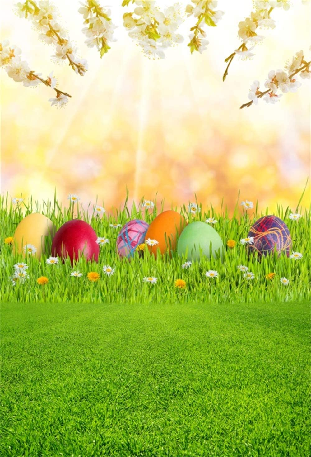 GoHeBe 10x7ft Vinyl Happy Easter Photography Background Easter Eggs Grassland Green Ribbon Bow Spring Scenic Illustration Backdrop Child Kids Baby Shoot Greeting Card Easter Egg Hunt Wallpaper
