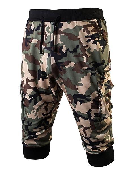 10b156ec18 Amazon.com: LETSQK Men's Camo Jogger Short Slim Fit Gym Workout Training  Capri Trousers Green M: Clothing