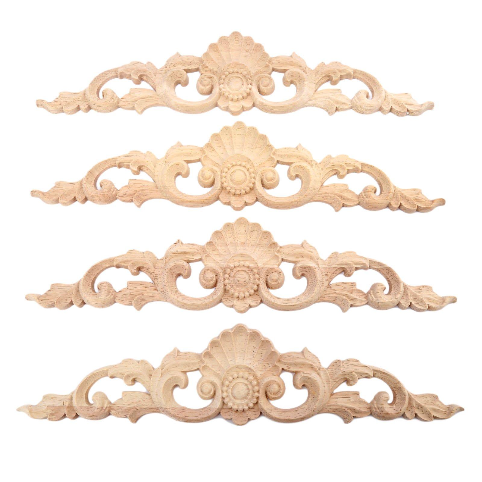 4pcs 30x6.5cm Wood Carved Long Onlay Applique Unpainted Furniture Door European Style