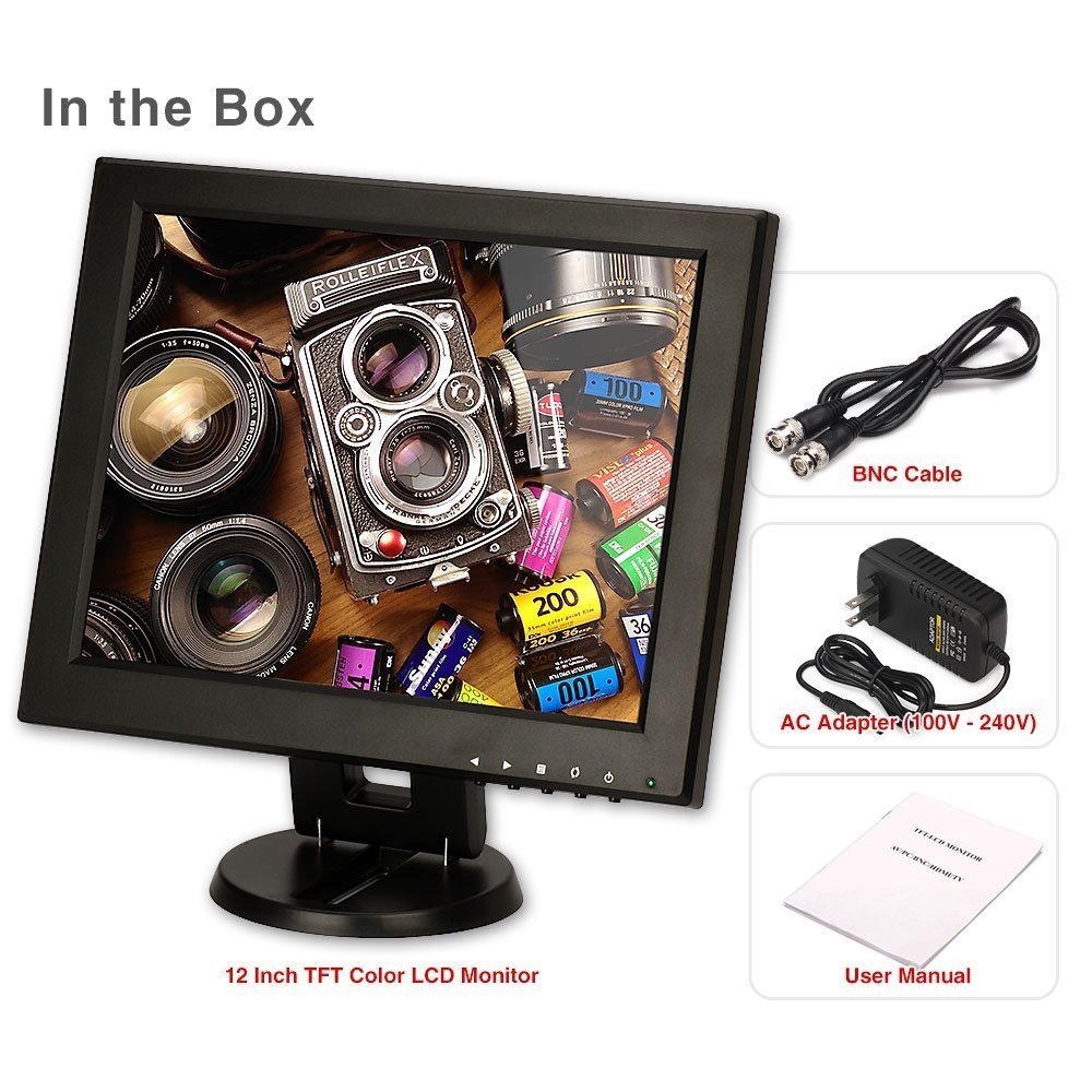 CCTV Monitor, BNC, ZOTER 12'' inch HDMI Portable LCD Mini Screen for Security Camera DVR by ZOTER