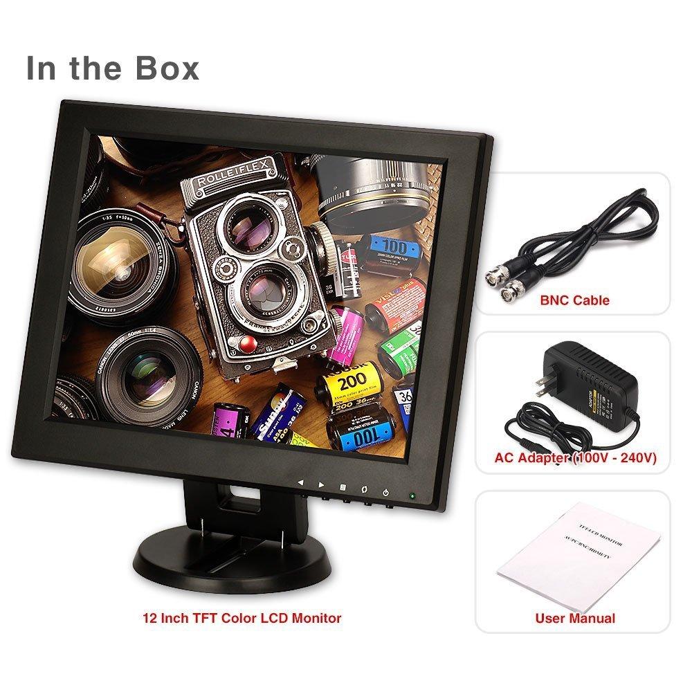 CCTV Monitor, BNC, ZOTER 12'' inch HDMI Portable LCD Mini Screen for Security Camera DVR