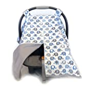 Vera Elephant 100% Breathable Cotton Baby Car Seat Cover (Blue Grey)