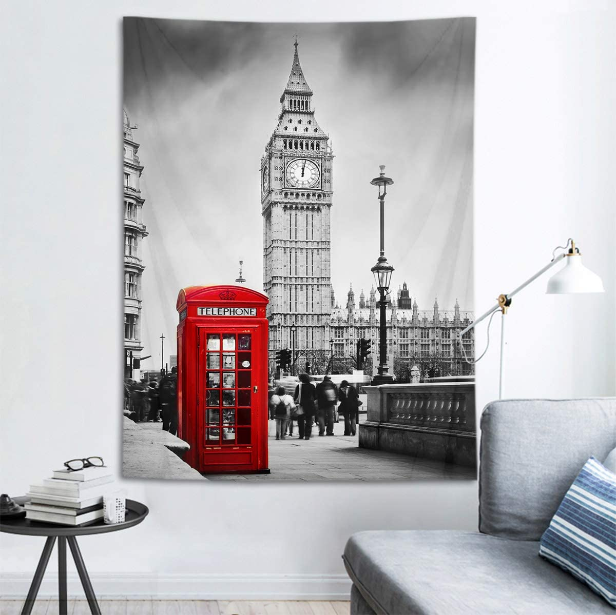 HVEST Big Ben Tapestry Red Phone Booth on The Street of London Wall Hanging Grey Cityscape Tapestries for Bedroom Living Room Dorm Party Decor,60Wx80H inches