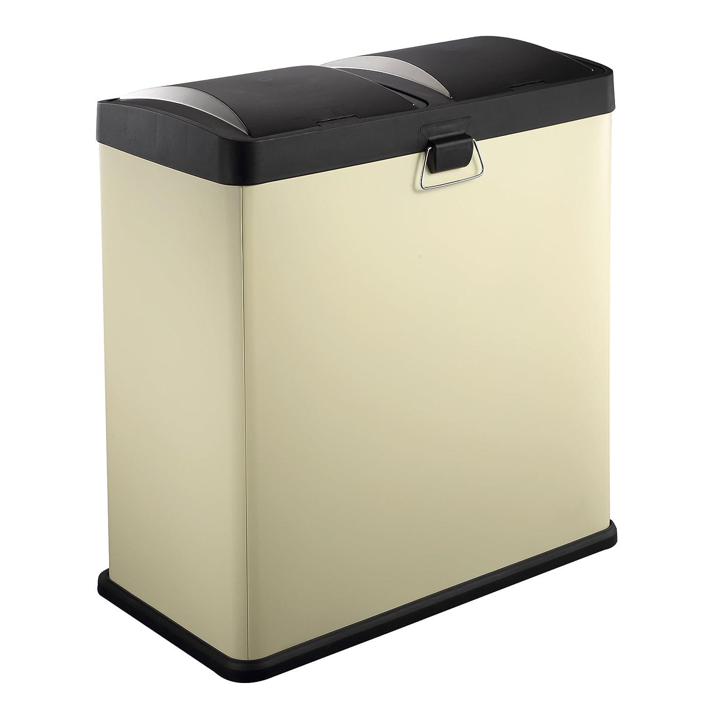 HARIMA - Cubo Basura Reciclaje Color Crema Con Pedal y Tapas De Plástico - Dual 60L Con 2 Compartimentos Extraíbles De 30L Para Separar Los Residuos: ...
