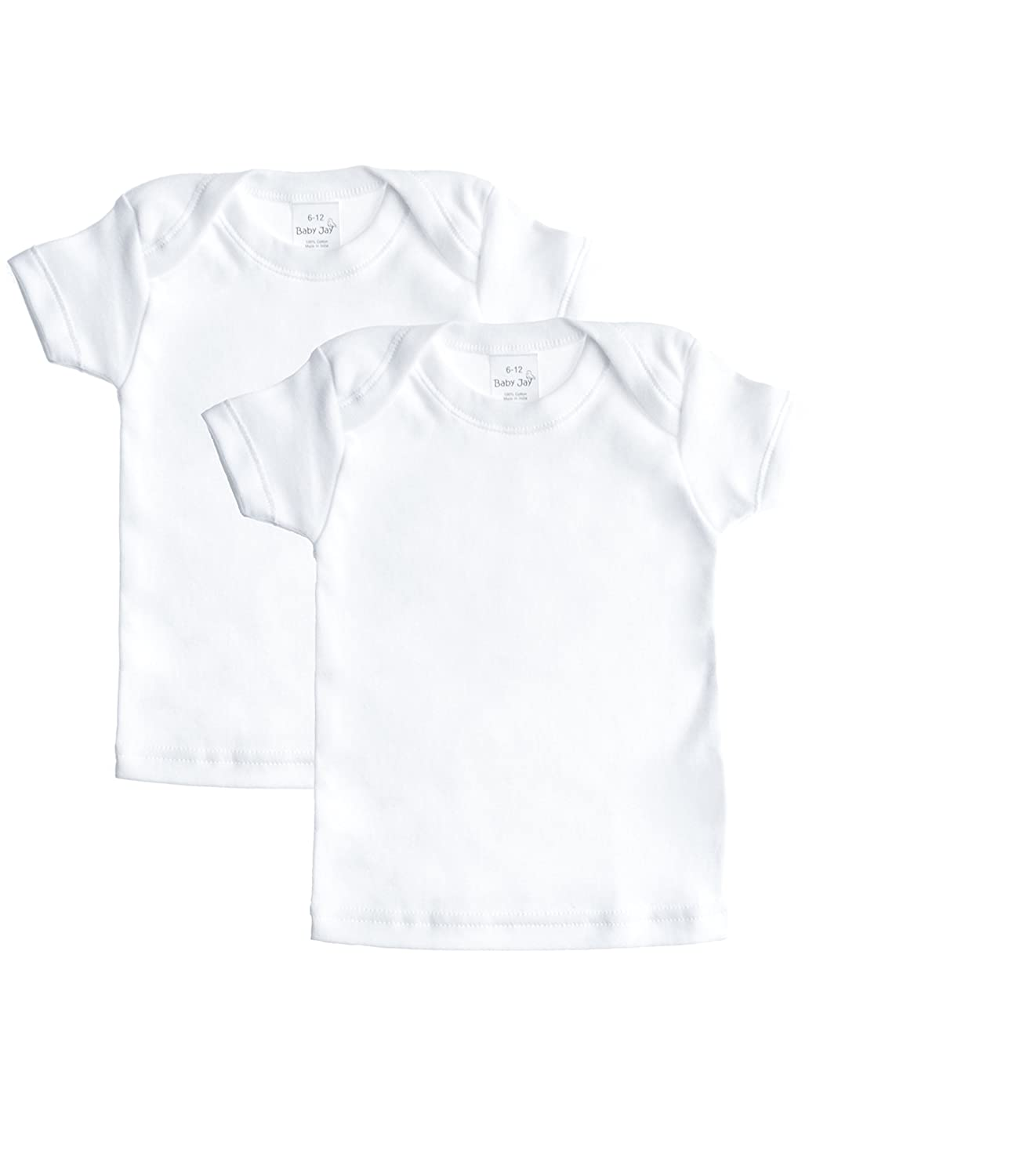 Baby Jay Short Sleeved Undershirt 2 Pack -White Cotton Tee for Boys and Girls WTSE-2PK
