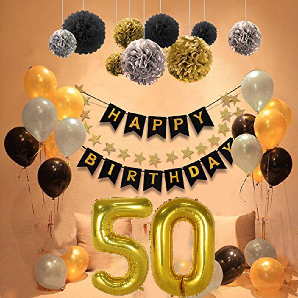Geburtstag Dekorationen 50 Birthday Party Supplies Sets Alles Gute Zum Banner Bunting Seidenpapier Pom Poms Hangenden Swirl Decor Und Ballon