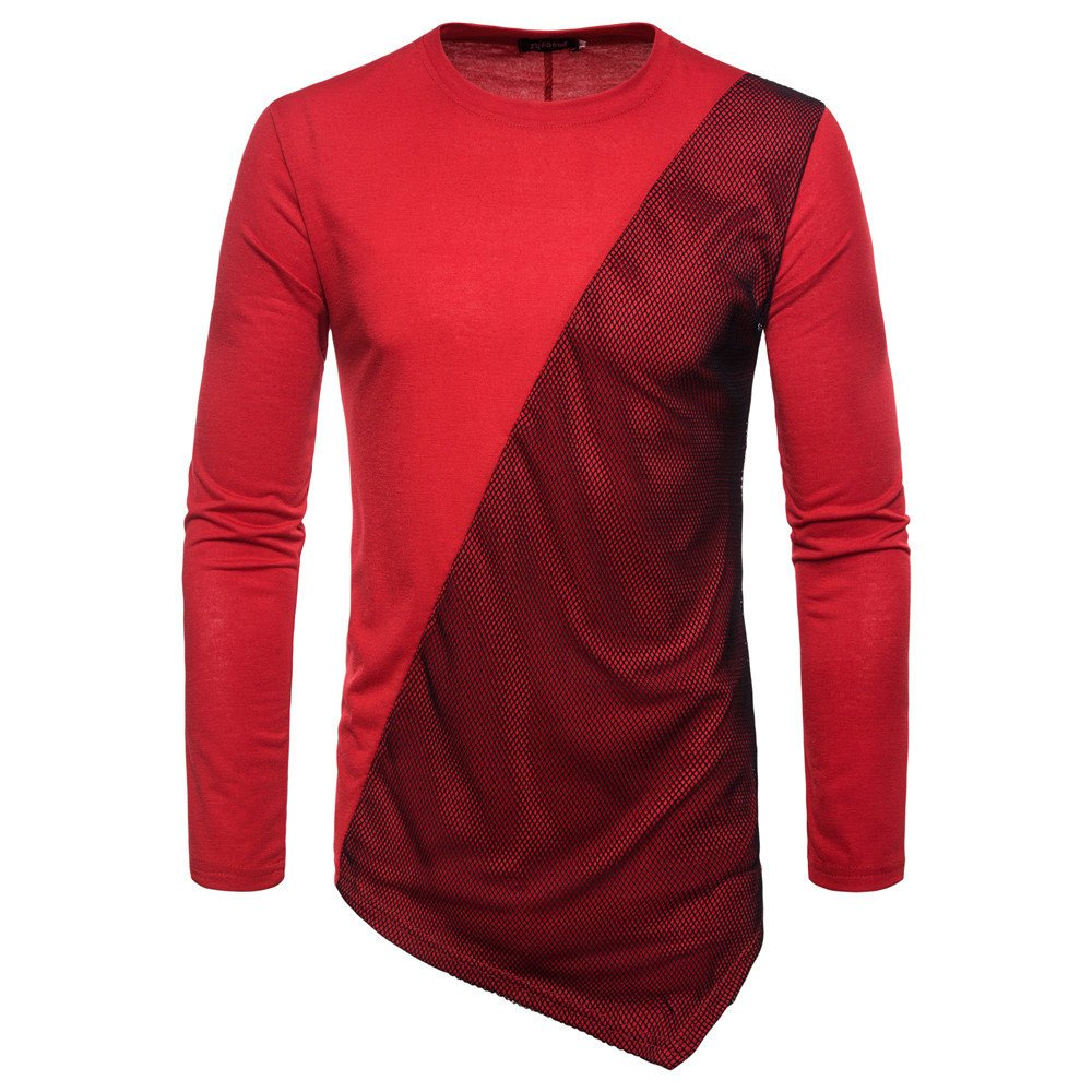 Faionny Clearance Sale Men Autumn Joint Blouse Long Feather Sleeved Sweatshirts O Neck Slim Tops Blouse