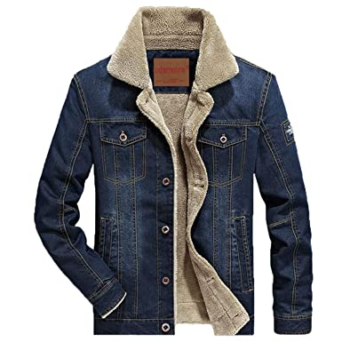 pretty nice 74c7e 2646a Herren Denim Jeansjacke mit Fell Jacke Mantel winterjacke Wintermantel für  Winter