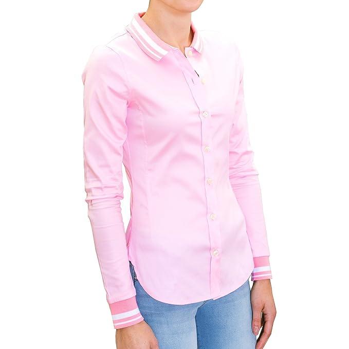 chaika Camisa Mujer Elegante & Original Manga Larga de Vestir Blusa Rosa S