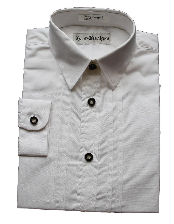 Isar Trachten traditionelles klassisches Trachtenhemd Hemd Kinder Weiß