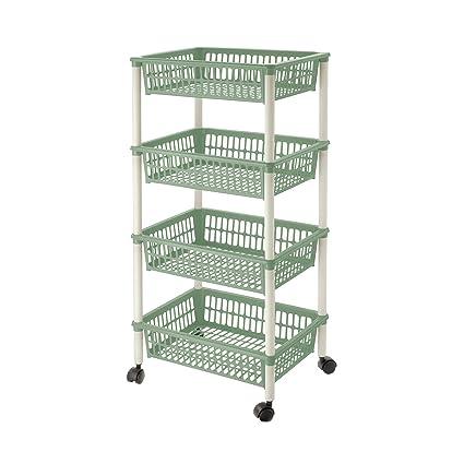 Lennox - Carrito verdulero 4 cestos 30 x 18 x 40 cm, verde