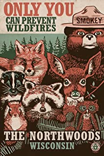 product image for Northwoods, Wisconsin - Smokey Bear and Woodland Creatures 98509 (12x18 Art Print, Wall Decor Travel Poster)