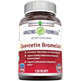 Amazing Nutrition- Quercetin 800 Mg with Bromelain 165 Mg, 120 Vcaps: A Potent Team Providing Amazing Health Benefits. Anti-o