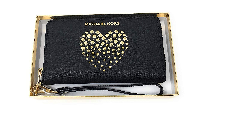 Michael Kors Giftables LG Flat MF Phone Case Black Saffiano Heart Studs by Michael Kors (Image #1)