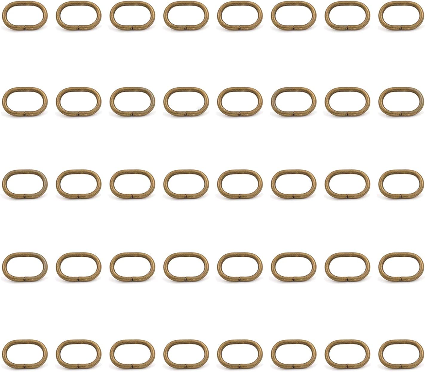 Pack of 10 Handbag Straps BIKICOCO 2 cm Metal Oval Ring Oval Loops Non Welded for Leather Purse Bags Bronze