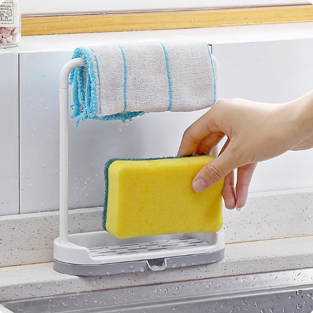 LiPing Hanging Double Layer Practical Desktop Dishcloth Rack Dish Cloths Rack Sponge Holder Clip Rag Storage for Kitchen Supplies Cleaning Utensils (A) by LiPing (Image #3)