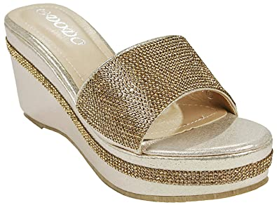 5cf7e4e28833 JJF Shoes Women s W33 Gold Open Toe Jeweled Rhinestone Embellished Slide  Low Wedge Platform Sandal Slippers