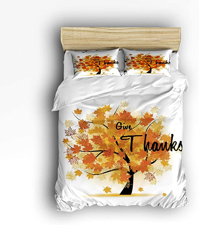 Amazon Com Smile Sunflower Bedding Set King Size Autumu Tree Give Thanks Maple Leaves Soft Lightweight Duvet Cover Set 1 Duvet Cover 1 Flat Sheet And 2 Pillow Cases Home Kitchen