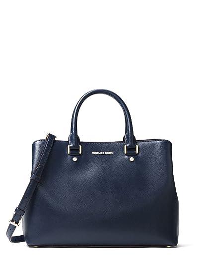 e7207e33f241db MICHAEL Michael Kors Savannah Large Patent Saffiano Leather Satchel -  Admiral Blue: Amazon.ca: Shoes & Handbags