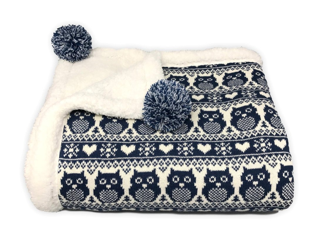 "effe bebe Snow Owl Cotton Knit Sherpa Baby Blanket 30""x40"" (Navy)"