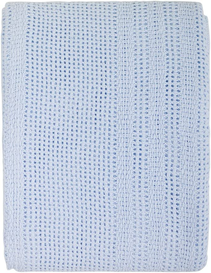 Junior Joy 6089BL - Manta para cochecito de bebé, 100% algodón, 70x100cm, color azul