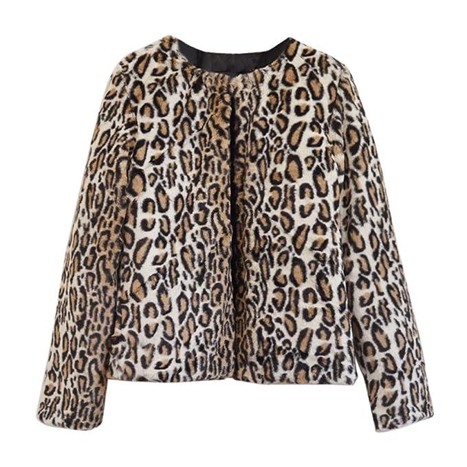 Hoplsen Mujer Señora Leopardo Piel sintética Chaqueta Capa Manga larga Invierno Caliente Fluffy Parka Abrigo Outwear
