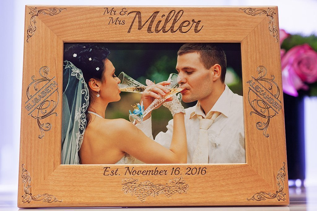 Amazoncom Custom Engraved Family Wood Picture Frame Personalized