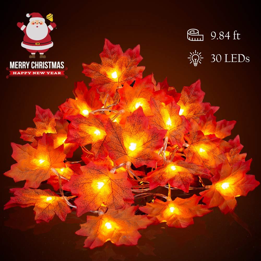 Stringa di Luce, Luci a foglia di acero,3M/30-LED String Light Artificiali Autunno Acero Foglie Stringa Filo luci Ghirlanda Decorazione Filo con lucine per giardini, case, Natale, San Valentino, festa Guanda Direct