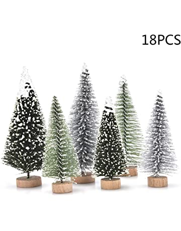 4f5f35475203 Peerless 18 PCS Miniature Christmas Tree Small Artificial Miniatures Sisal  Snow Frost Trees