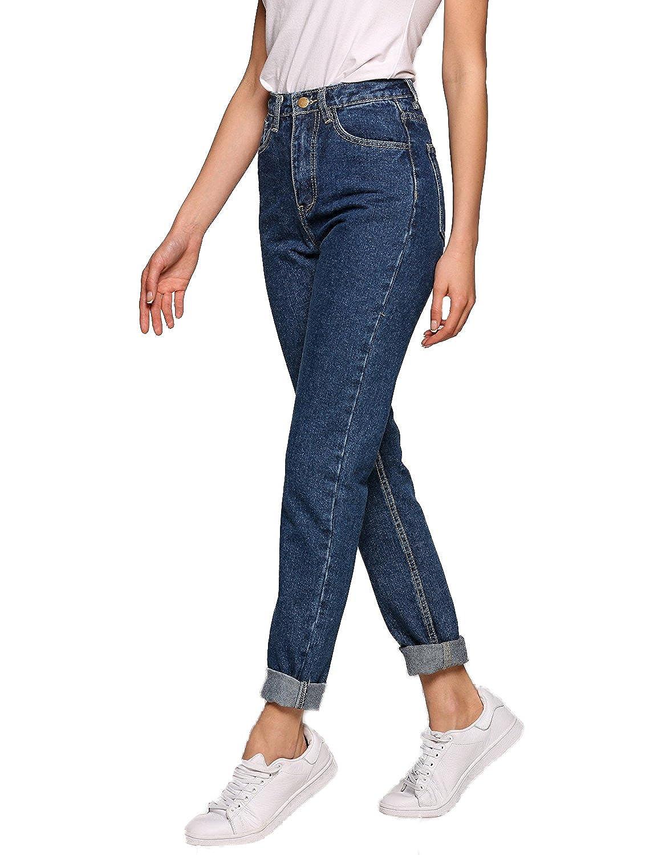 Lomon Pantalones Vaqueros de Cintura Alta para Mujeres Demin con Piernas Rectas elásticos Ajustados Delgados Talla Extra Leggings