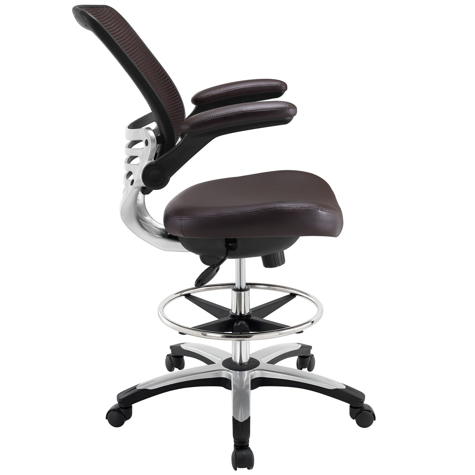 Modway Edge Drafting Chair In Brown - Reception Desk Chair - Tall Office Chair For Adjustable Standing Desks - Flip-Up Arm Drafting Table Chair by Modway (Image #4)