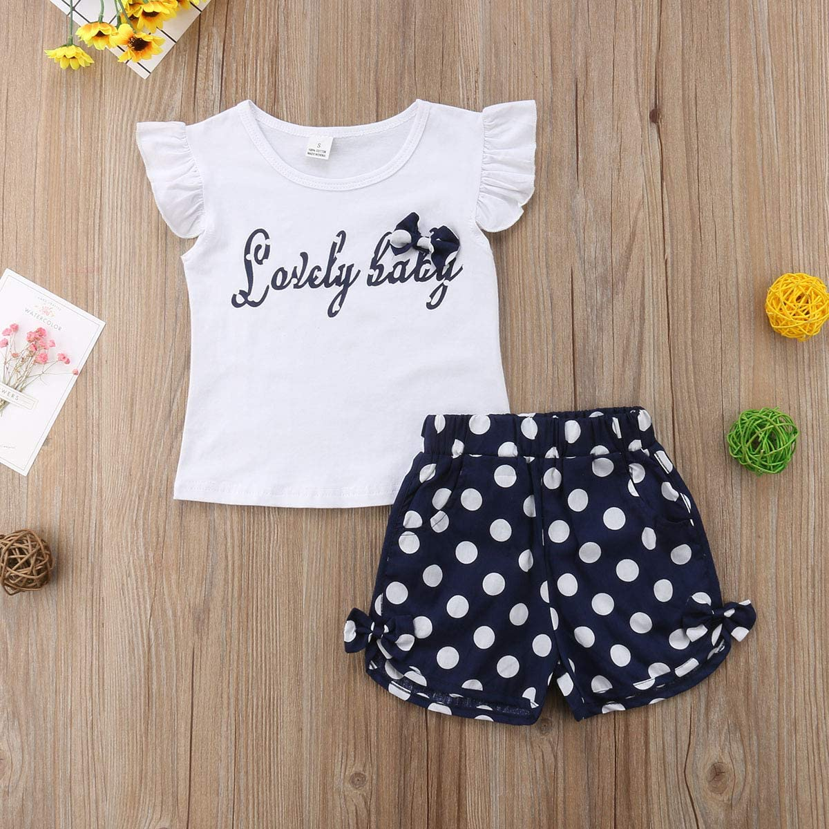 Toddler Infant Baby Girls Fly Sleeve T-Shirt Top+Polka Dot Shorts Pants Clothes Outfits Set